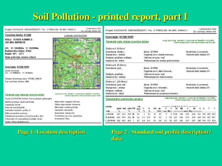 Soil Pollution - printed report, part I