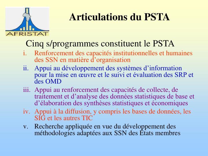 Cinq s/programmes constituent le PSTA