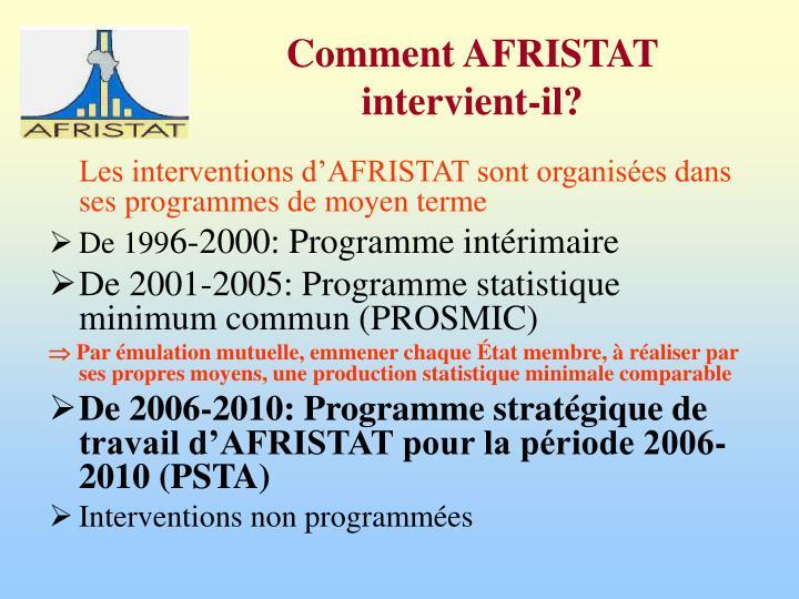 Les interventions d'AFRISTAT sont organisées dans ses programmes de moyen terme
