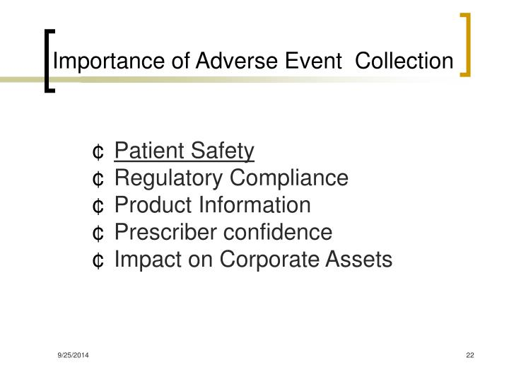 Importance of Adverse Event  Collection