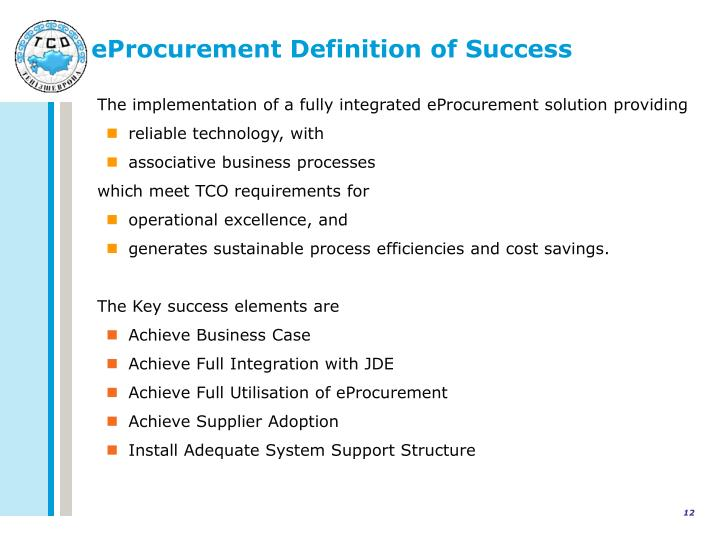 eProcurement Definition of Success