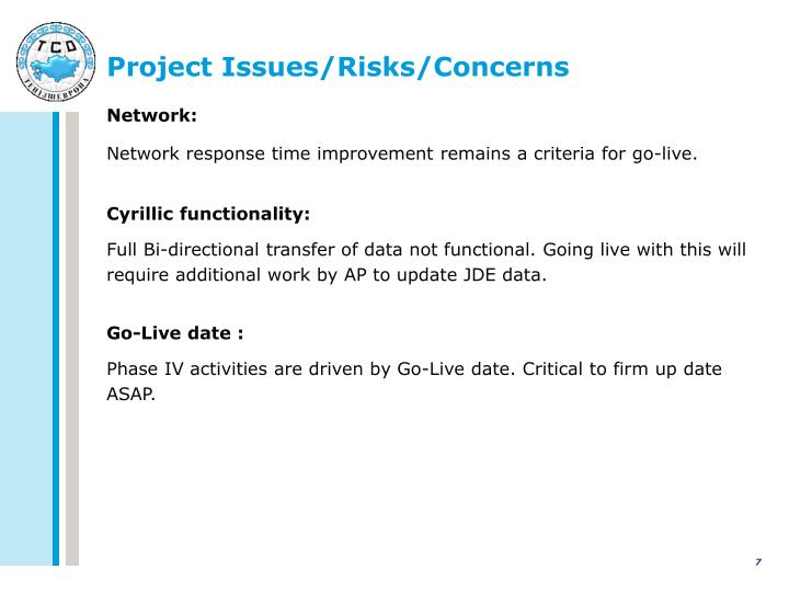 Project Issues/Risks/Concerns