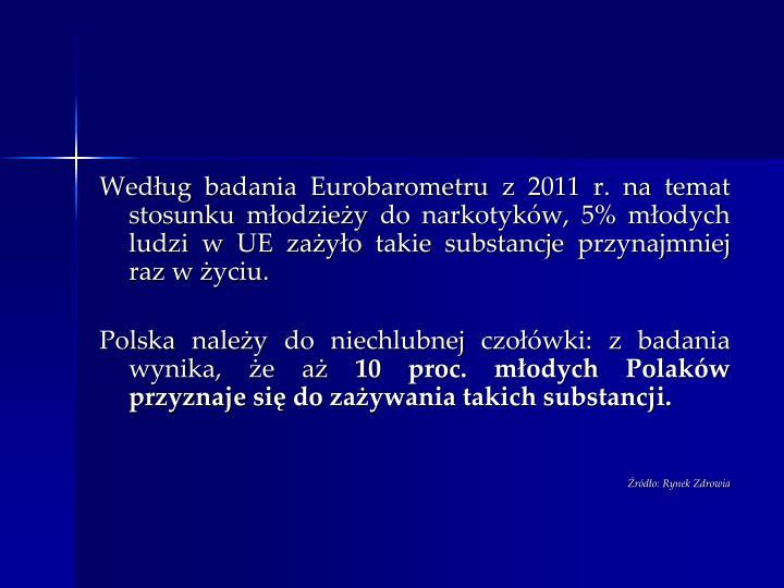 Wedug badania Eurobarometru z 2011 r. na temat stosunku modziey do narkotykw, 5% modych ludzi w UE zayo takie substancje przynajmniej raz w yciu.