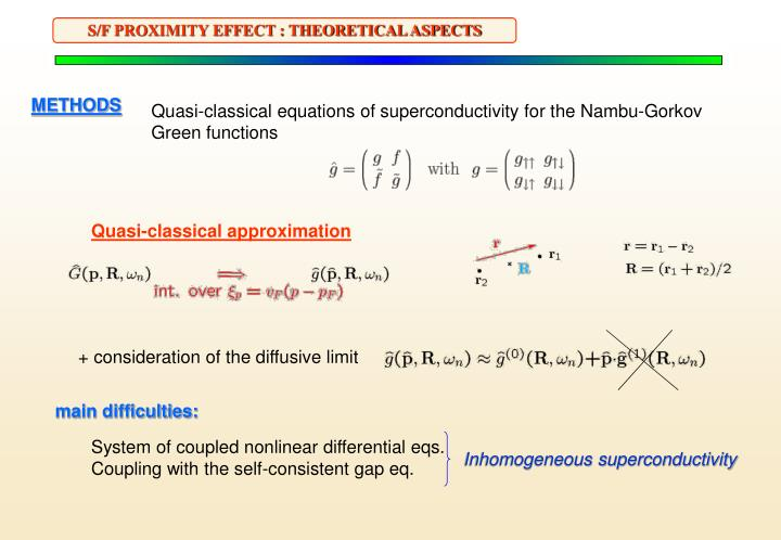 S/F PROXIMITY EFFECT : THEORETICAL ASPECTS