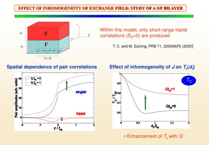 EFFECT OF INHOMOGENEITY OF EXCHANGE FIELD: STUDY OF A S/F BILAYER
