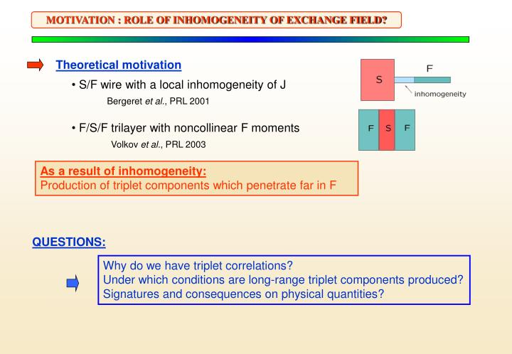 MOTIVATION : ROLE OF INHOMOGENEITY OF EXCHANGE FIELD?