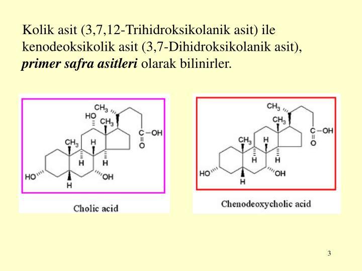 Kolik asit (3,7,12-Trihidroksikolanik asit) ile kenodeoksikolik asit (3,7-Dihidroksikolanik asit),