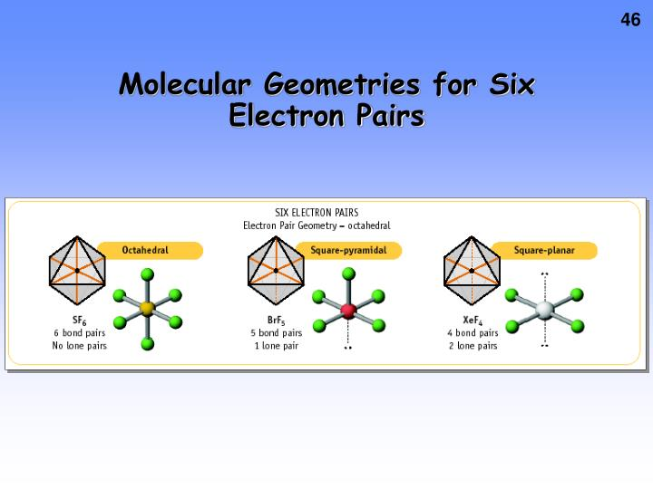 Molecular Geometries for Six Electron Pairs