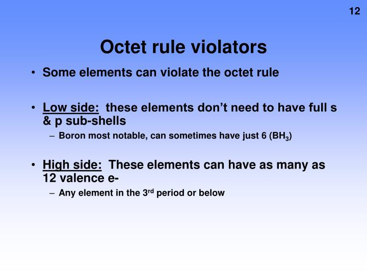 Octet rule violators