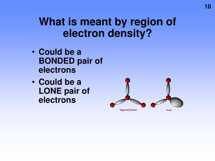 What is meant by region of electron density?
