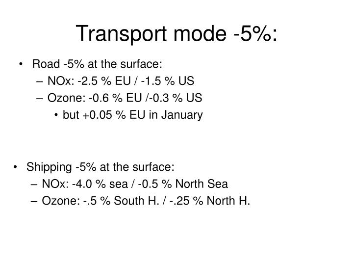 Transport mode -5%: