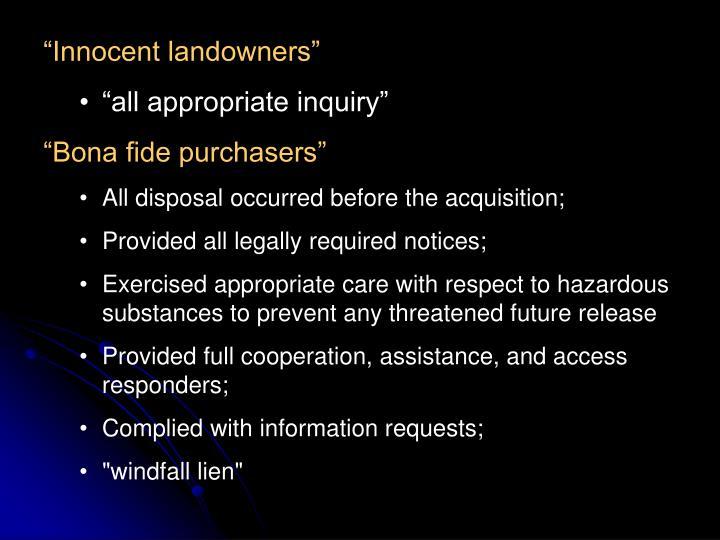 """Innocent landowners"""