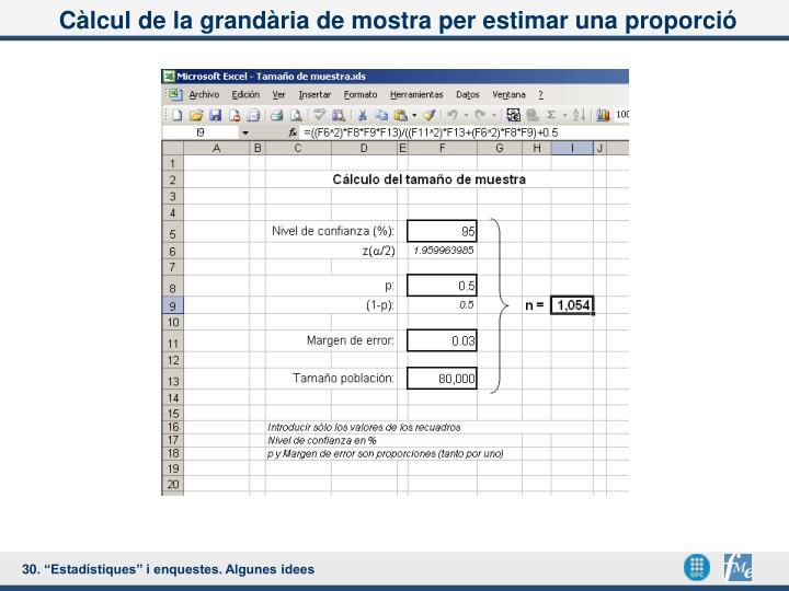 Càlcul de la grandària de mostra per estimar una proporció