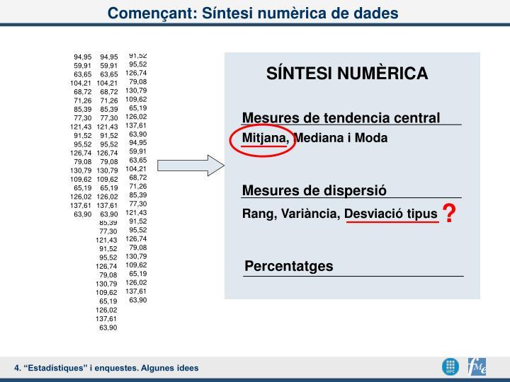 Començant: Síntesi numèrica de dades