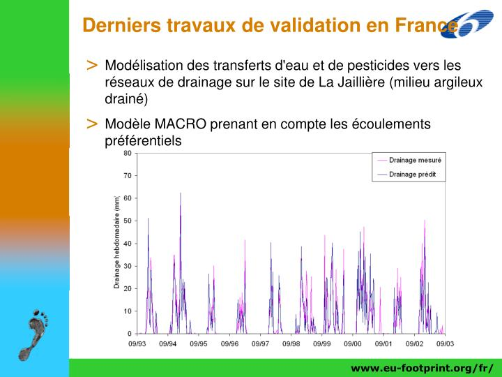 Derniers travaux de validation en France