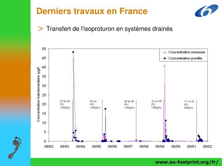 Derniers travaux en France