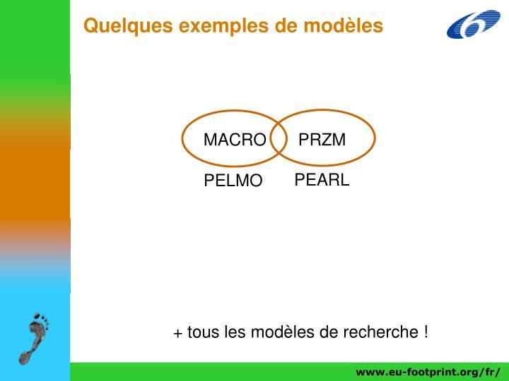 Quelques exemples de modèles