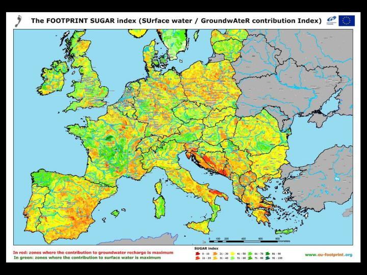 The FOOTPRINT EU SUGAR map