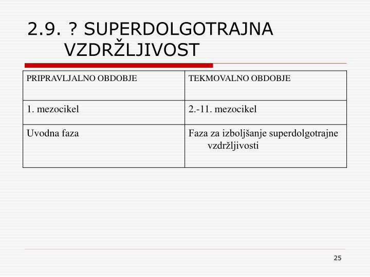 2.9. ? SUPERDOLGOTRAJNA VZDRŽLJIVOST