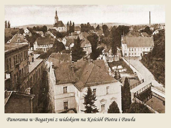 Panorama w Bogatyni z widokiem na Kościół Piotra i Pawła