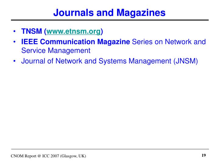 Journals and Magazines