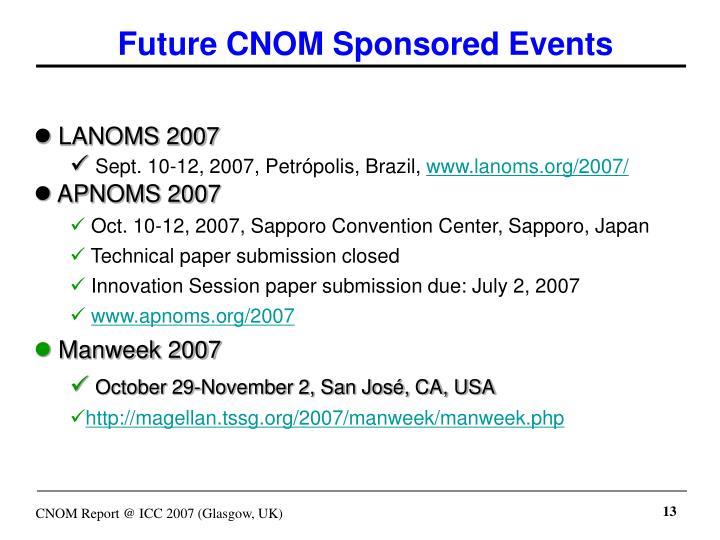 Future CNOM Sponsored Events