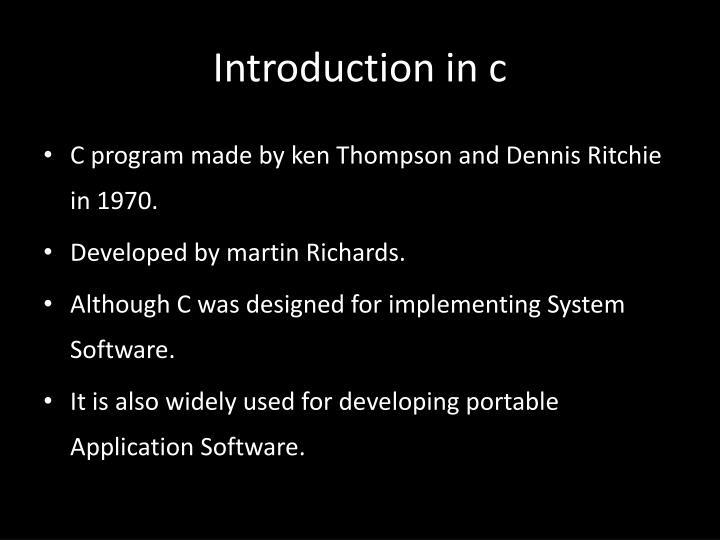 Introduction in c