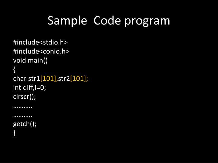 Sample  Code program