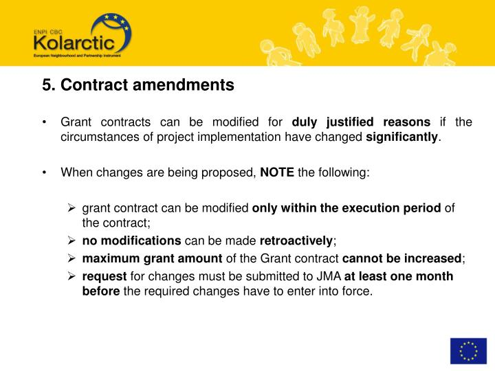 5. Contract amendments