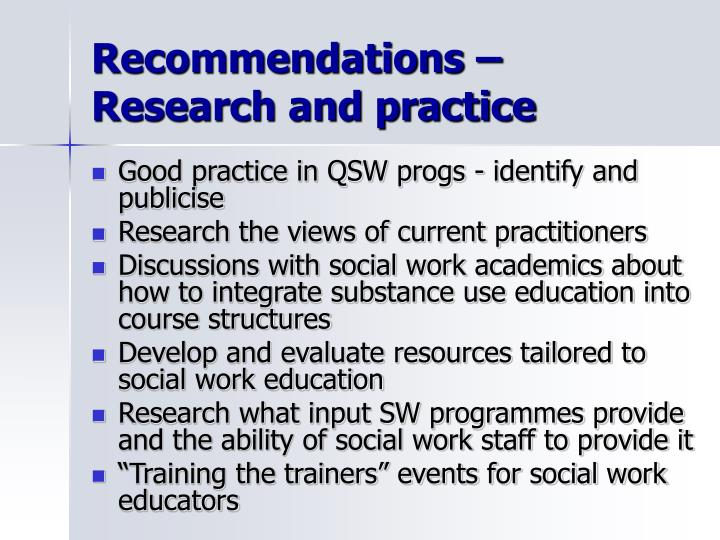 Recommendations – Research and practice
