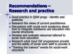 recommendations research and practice