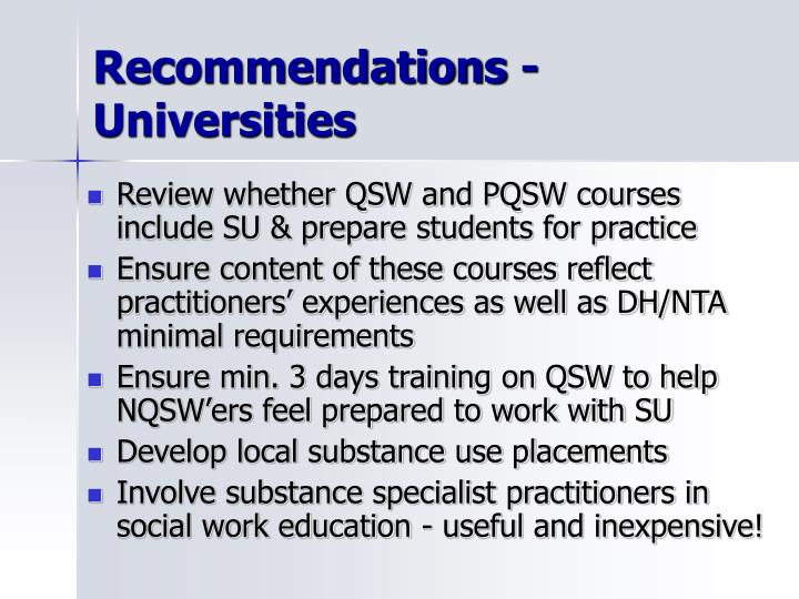 Recommendations - Universities