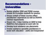 recommendations universities