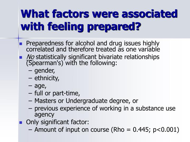 What factors were associated with feeling prepared?
