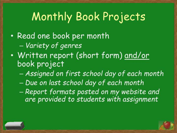 Monthly Book Projects