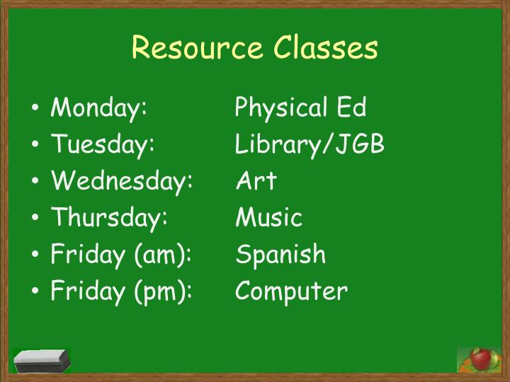 Resource Classes