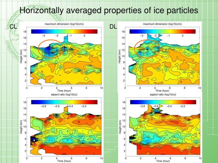 Horizontally averaged properties of ice particles