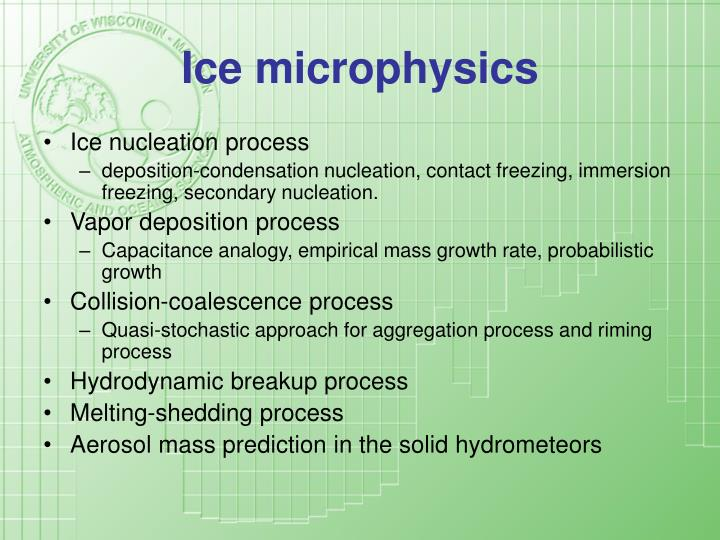 Ice microphysics
