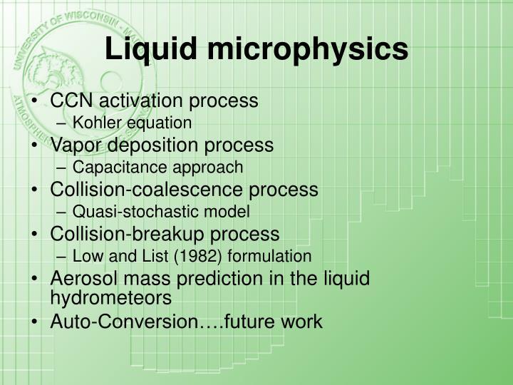 Liquid microphysics