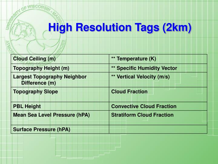 High Resolution Tags (2km)