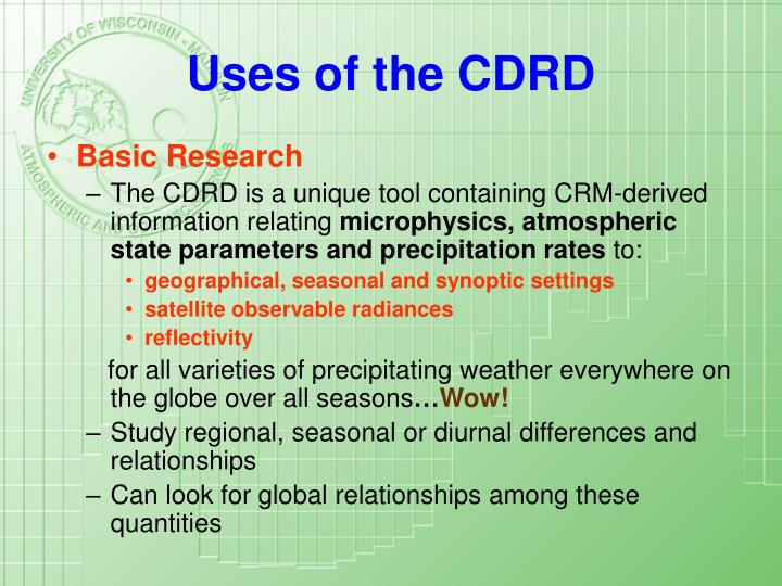 Uses of the CDRD