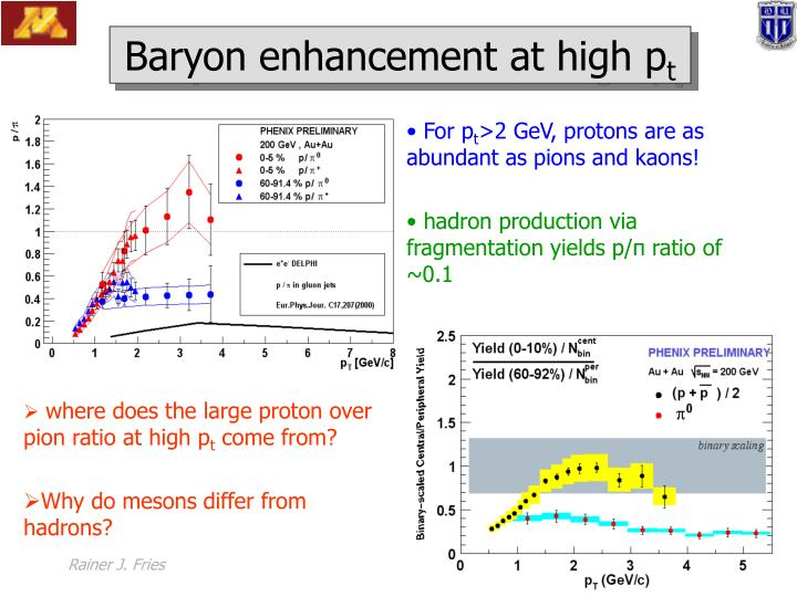 Baryon enhancement at high p