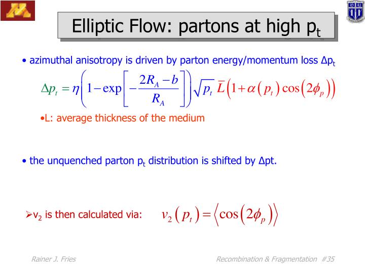 Elliptic Flow: partons at high p