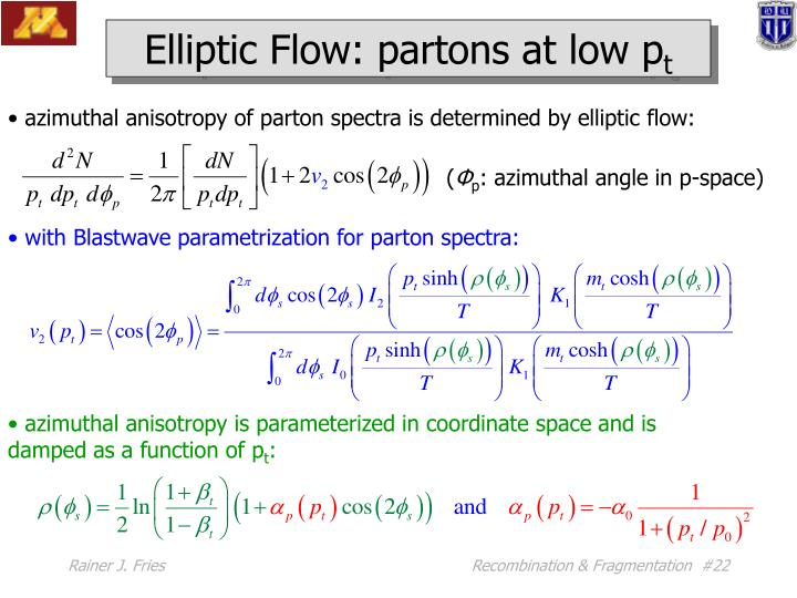 Elliptic Flow: partons at low p