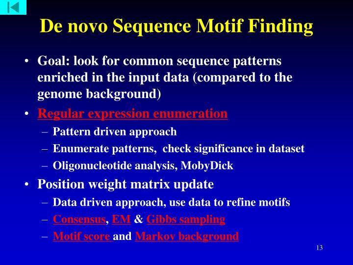 De novo Sequence Motif Finding