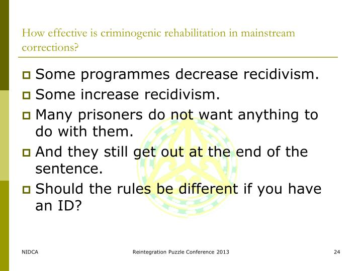 How effective is criminogenic rehabilitation in mainstream corrections?