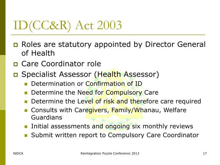 ID(CC&R) Act 2003