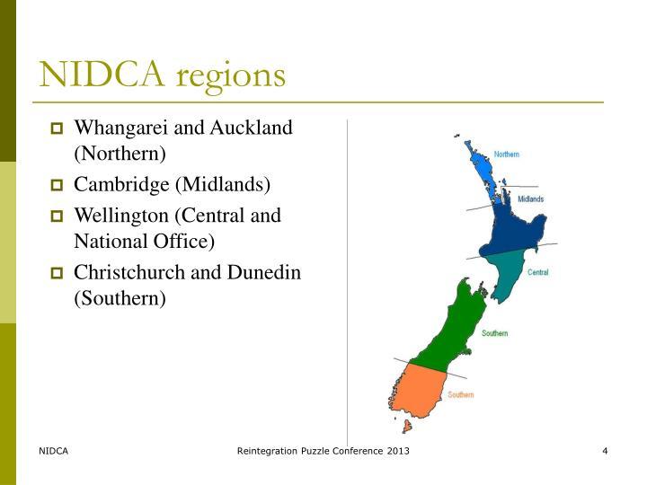 NIDCA regions