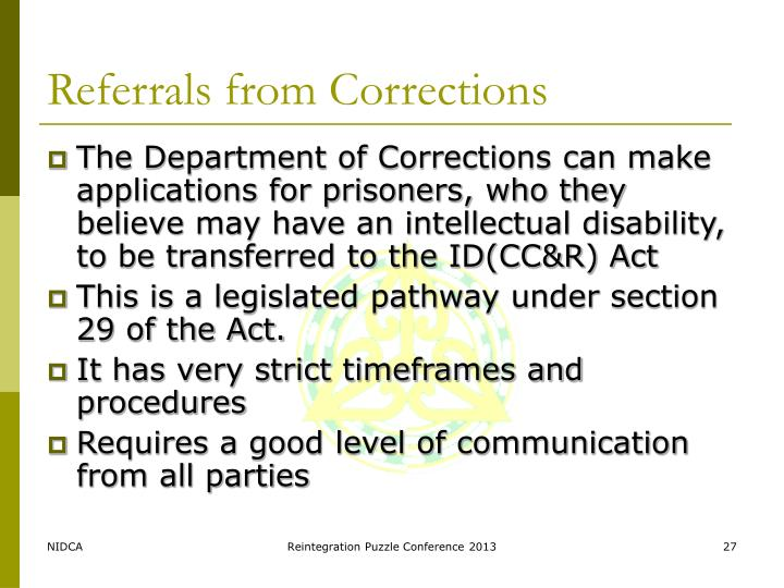 Referrals from Corrections