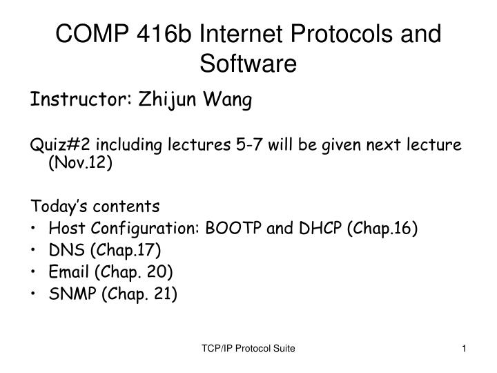 Comp 416b internet protocols and software